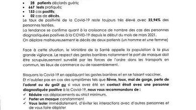 Coronavirus - Djibouti : Point de Presse sur la Situation COVID-19 le 26 mars 2021