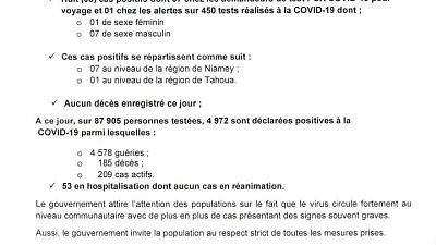 Coronavirus - Niger : mise à jour COVID-19 (26 mars 2021)