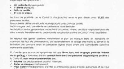 Coronavirus - Djibouti : Point de Presse sur la Situation COVID-19 le 29 mars 2021