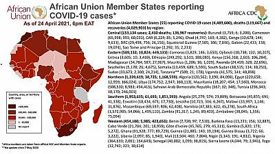 Coronavirus: African Union Member States reporting COVID-19 cases as of 24 April 2021, 6 pm EAT