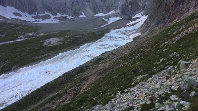 Colata ha invaso un tratto della via normale Aiguille Noire