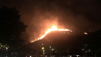 Ettari vegetazione a fuoco nella notte,evacuate case e residence