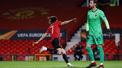 Man United arrolla a la Roma en semis Europa League con doblete de Cavani; Villarreal también gana