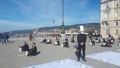 Manifestazione Fipe in piazza Unità d'Italia a Trieste