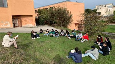 Con una classe del liceo Pietro Sette di Santeramo in Colle