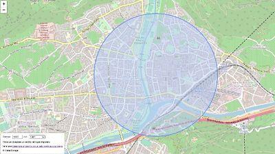 Click sulla propria casa e appare cerchio della zona consentita