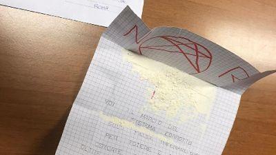 Lettera arrivata martedì da sedicenti nuove Br