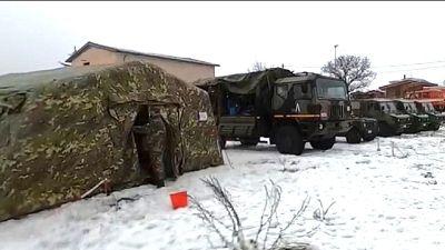 Alpini IX Reggimento L'Aquila hanno montato tende riscaldate