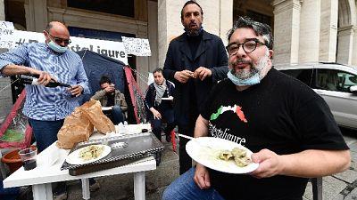Manifestazione dei ristoratori di #protestaligure