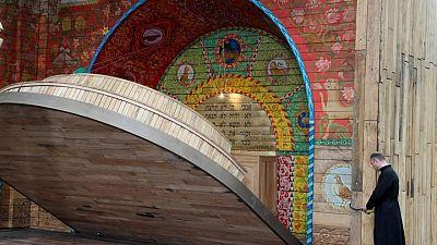 Ukraine unveils folding 'pop-up book' synagogue at site of Babyn Yar massacre