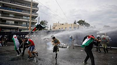 Police fire water cannon at pro-Palestinian demonstrators in Athens