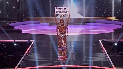"""En Miss Universo, concursante de Myanmar suplica """"nuestro pueblo se está muriendo"""""""