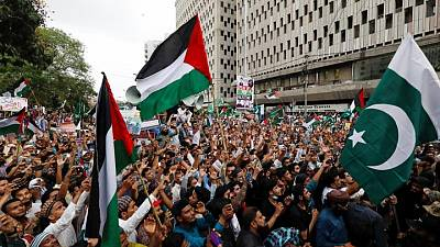 Pakistanis rally in support of Palestinians