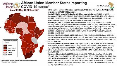 Coronavirus: African Union Member States reporting COVID-19 cases as of 29 May 2021, 9 am EAT