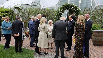 Britain's Queen Elizabeth hosts Biden at G7 reception