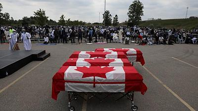 Hundreds take part in funeral of Canadian Muslim family killed in truck attack