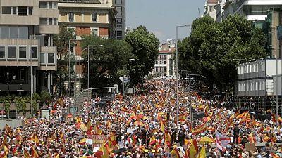 Miles protestan en España contra posible indulto a líderes catalanes encarcelados