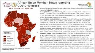 Coronavirus: African Union Member States reporting COVID-19 cases as of 20 June 2021, 6 pm EAT