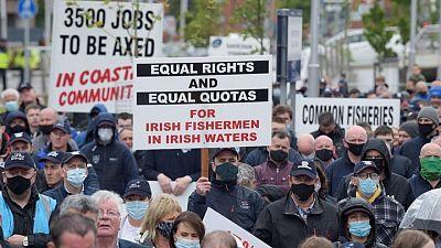 Irish fishermen take trawlers to central Dublin in Brexit protest