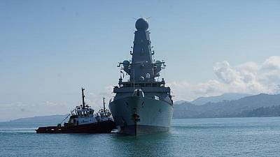 British naval destroyer that angered Russia docks in Georgia