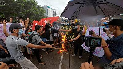 Myanmar protesters burn army uniform five months after coup