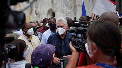 Cuba's president blames discontent on U.S. sanctions