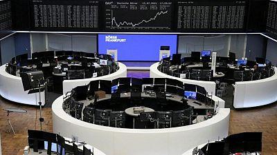 European shares ease from peak; banks, miners boost UK stocks