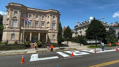 'Cuba Libre' message painted outside Cuba's U.S. embassy in Washington