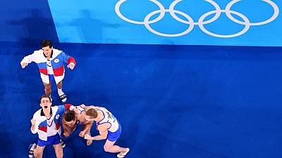 Olympics-Gymnastics-Russians hail Dalaloyan after recovery helps them to gold