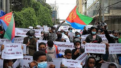 Eritrean refugees in Ethiopian capital protest insecurity at Tigray camps
