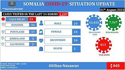 Coronavirus - Somalia: COVID-19 Situation Update (01 August 2021)